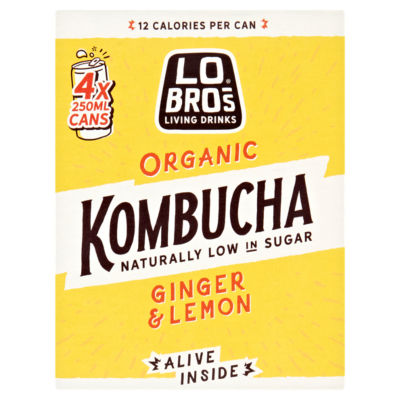 Lo Bros Living Drinks Organic Kombucha Ginger & Lemon Cans