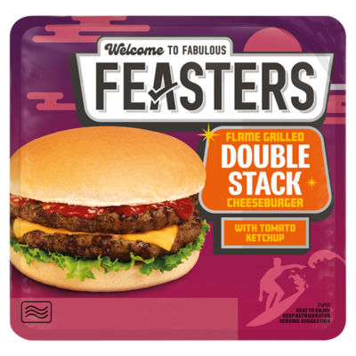 Feasters Premium Microwave Flame Grilled Double Stack Cheeseburger