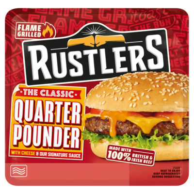 Rustlers Flame Grilled The Classic Quarter Pounder