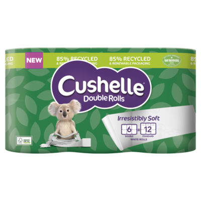 Cushelle Double Rolls in 85% Recycled & Renewable Packaging 6 Rolls