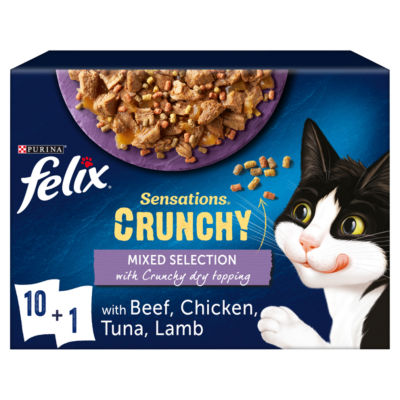 Felix Sensations Crunchies Adult Cat Food Mixed Selection + Crunchy Dry Topping