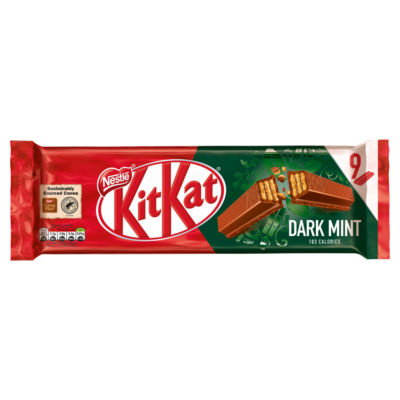 KitKat 2 Finger Dark Mint Chocolate Biscuit Bar, 9 Pack