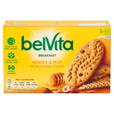 Belvita Breakfast Biscuits Honey & Nuts with Choc Chips 5 Pack