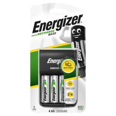 Energizer Recharge AA/AAA Base Charger with 4 x AA 1300mAh Rechargeable Batteries