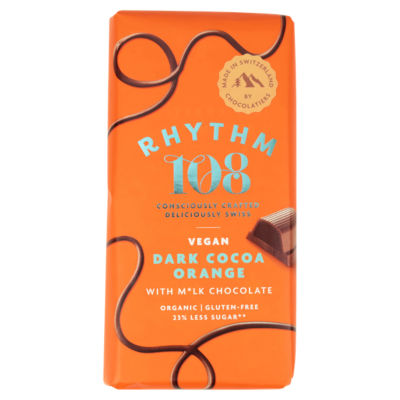 Rhythm 108 Swiss Vegan Dark Cocoa Orange Bar with M'lk Chocolate