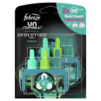 Febreze UNstoppables 3Vol Air Freshener  Fresh Plug In - 2 Refills