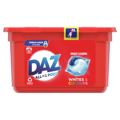 Daz All in 1 Pods Washing Liquid Capsules Whites & Colours 12 Washes