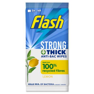 Flash Antibacterial Cleaning Wipes 24 Large , Lemon