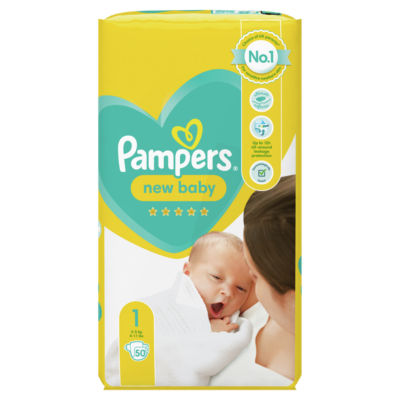 Pampers New Baby Size 1, 50 Nappies, 2kg-5kg, Essential Pack