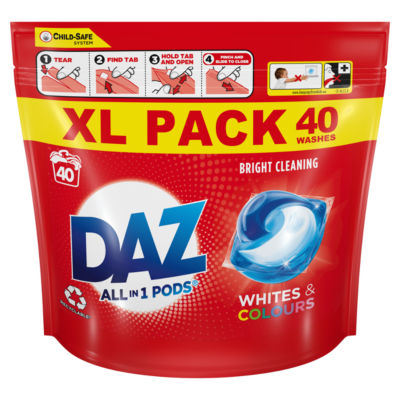 Daz ALL-in-1 PODs Washing Liquid Capsules Whites & Colours 40 Washes