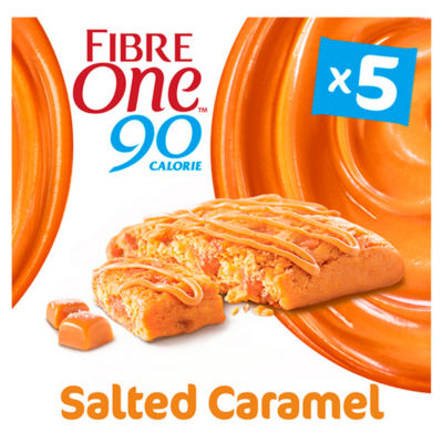 Fibre One 90 Calorie Salted Caramel Drizzle Squares 5 Pack