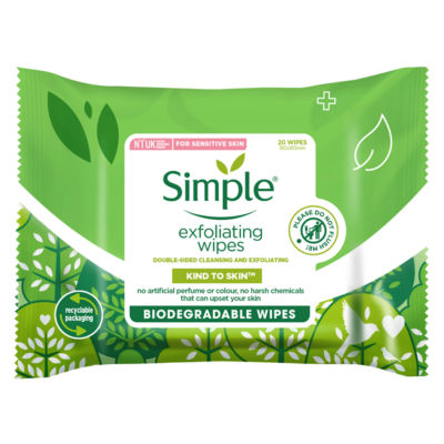 Simple Exfoliating Biodegradable Facial Wipes 20 wipes