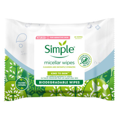 Simple Micellar Biodegradable Cleansing Wipes 20 wipes