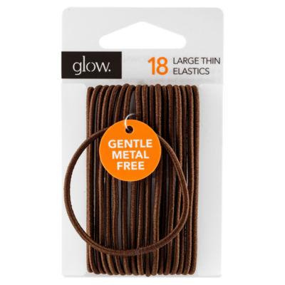 Glow 18 Large Thin Elastics Hair Bands Brown