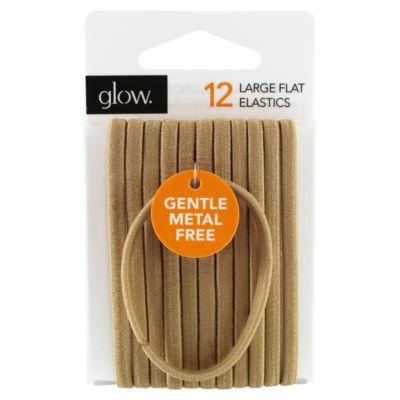 Glow 12 Large Flat Elastics Hair Bands Blonde