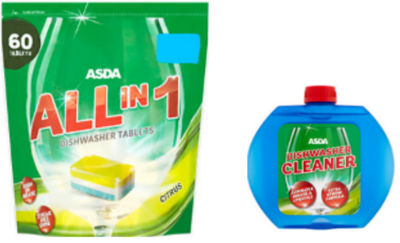 ASDA All in 1 Citrus Dishwasher Tablets & Rinse Aid Bundle