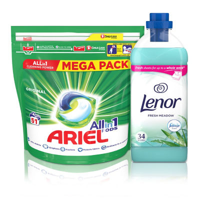 Ariel Pods Washing Liquid Capsules Original 51 Washes & Lenor Fabric Conditioner Fresh Meadow Scent 34 Washes