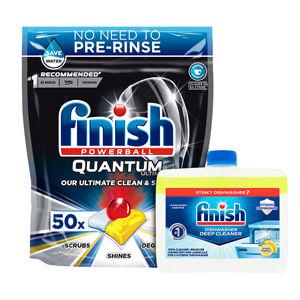Finish Powerball Quantum Ultimate  Dishwasher Tablets & Dishwasher Machine Cleaner Bundle