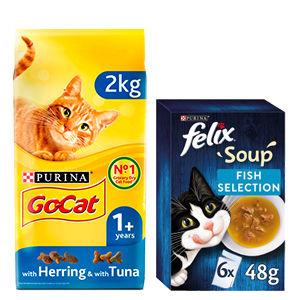 Go Cat Tuna, Herring & Veg Dry Cat Food and Felix Fish Selection Cat Soup Pouches Bundle