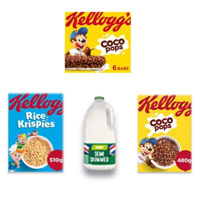 Kellogg's Coco Pops, Rice Krispies, Coco Pops Cereal Bars and Milk Bundle