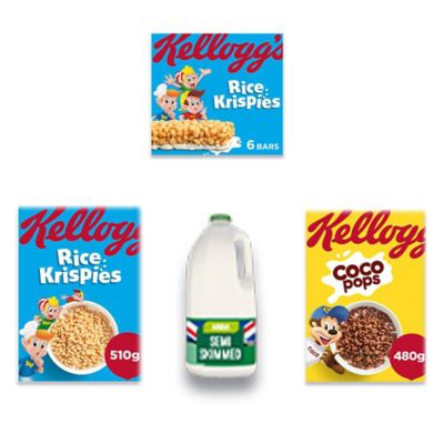 Kellogg's Rice Krispies, Coco Pops, Rice Krispies Cereal Bars and Milk Bundle