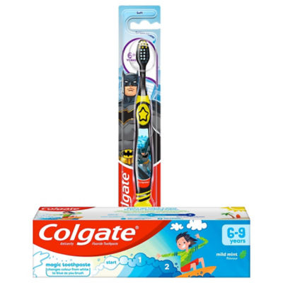 Colgate Kids Mild Mint Toothpaste 6-9 Years & Smiles Soft Toothbrush  6+ Years Bundle