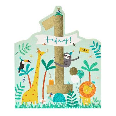George Home Age 1 Jungle Animals Birthday Card
