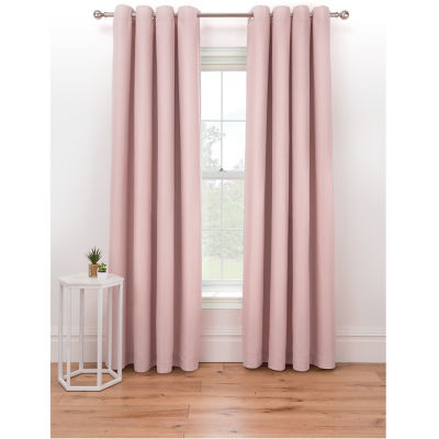 George Home Pink Textured Weave Eyelet Curtains