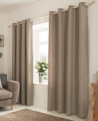 George Home Mink Textured Weave Lined Curtains
