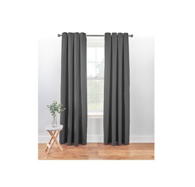 George Home Textured Weave Lined Curtains - Charcoal