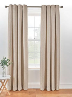 George Home Natural Textured Weave Lined Curtains