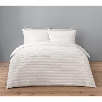 George Home White Luxury Washed Tufted Double Duvet Set