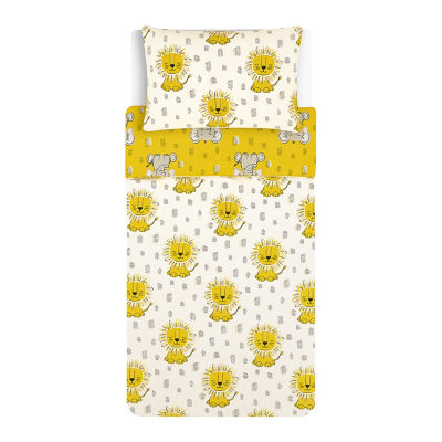 George Home Yellow and White Safari Easy Care Duvet Toddler Cover Set