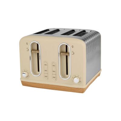 George Home Cream And Wood Scandi 4 Slice Toaster