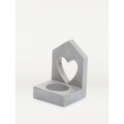 George Home Grey Cement Heart Tealight Holder