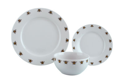 George Home White Bumble Bee Pattern Dinner Set 12 Piece