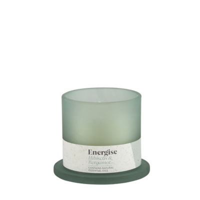 George Home Hibiscus and Bergamot Energising Frosted Glass Candle