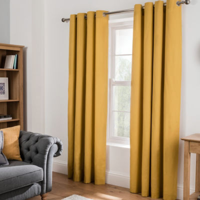 George Home Plain Eyelet Curtains - Honey