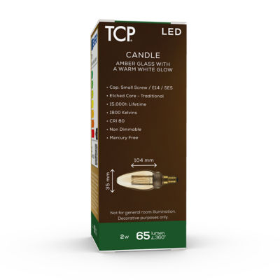 TCP Vintage LED Candle SES Amber Lightbulb