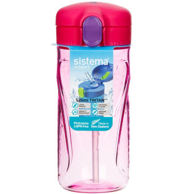 Sistema Hydrate 520ml Quick Flip Lid Bottle (Colours Vary)
