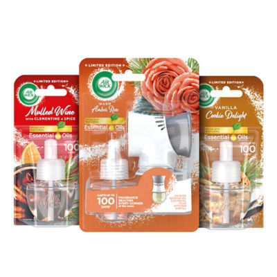 Air Wick Electrical Plug In Kit & Refills Bundle - Warm Amber Rose, Mulled Wine & Vanilla Delight